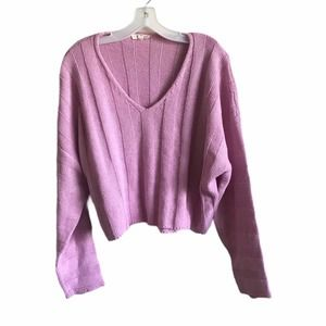 L.A. Hearts Pink Ribbed Knit Crop V Neck Sweater